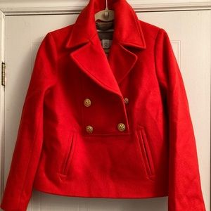 JCrew red cropped pea coat size 10